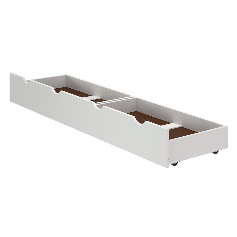 Bolton Furniture Alaterre 37 In W X 9 H White Under Bed Storage Drawers Set Of 2