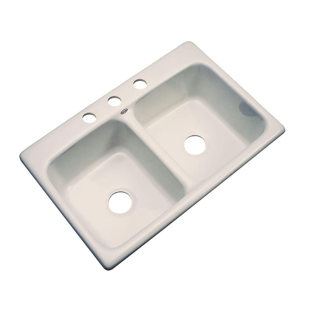 Newport Drop-in Acrylic 33x22x9 3-Hole Double Bowl Kitchen Sink in Desert