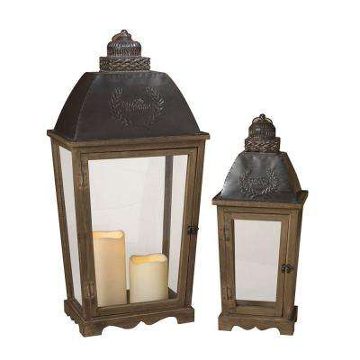 Metal and Wood Welcome Lantern (Set of 2)
