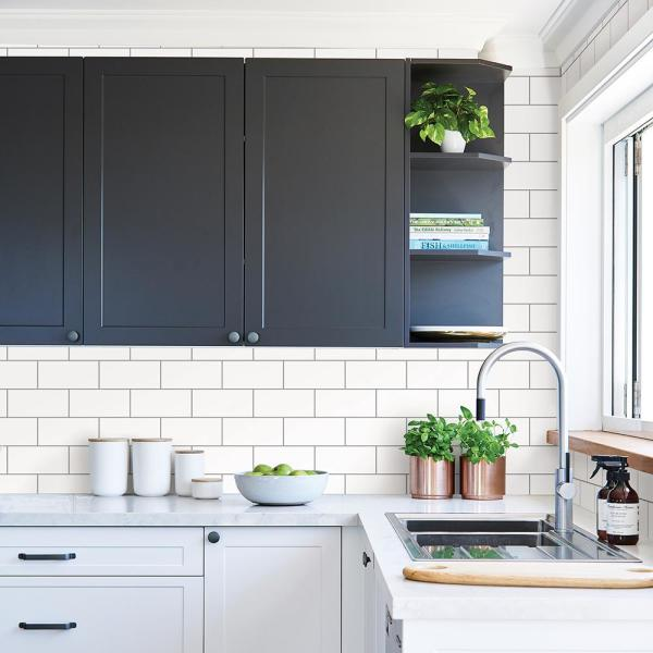 Galley Off White Subway Tile Wallpaper