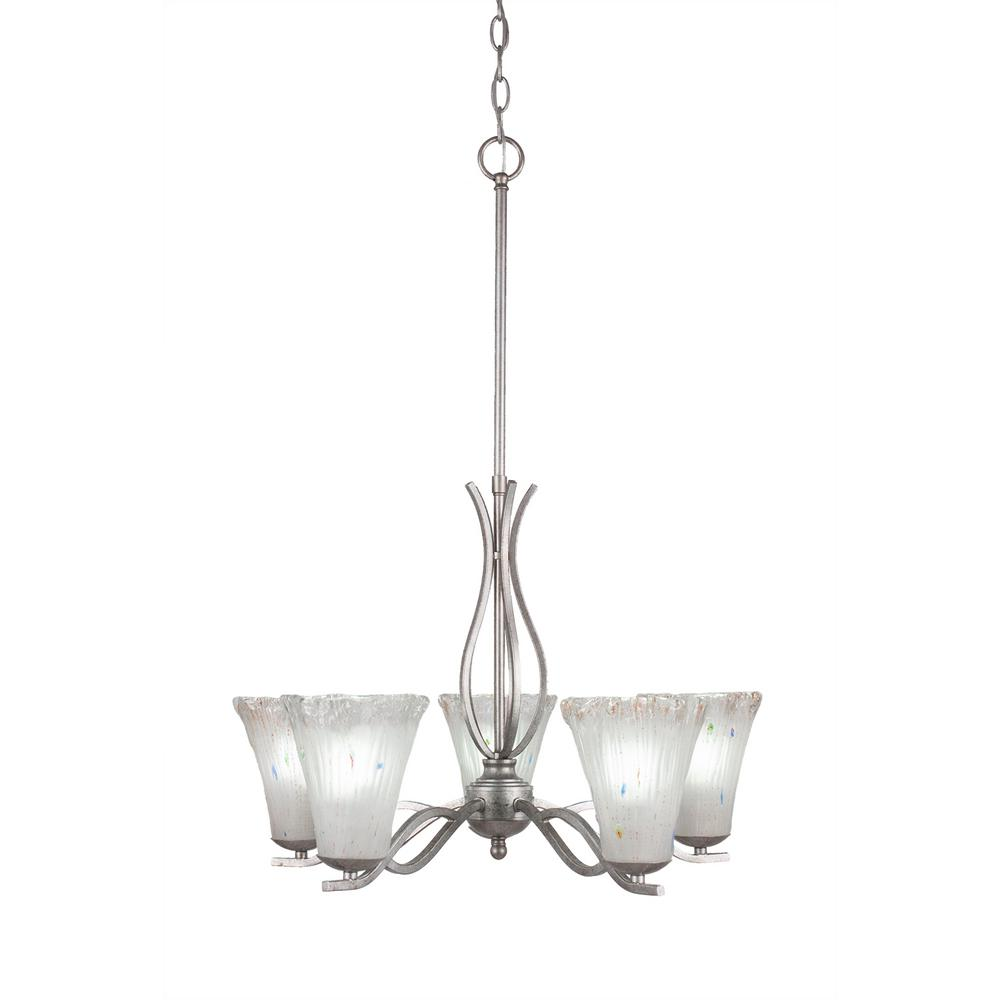 Filament Design 5-Light Aged Silver Chandelier with 5.5 in. Fluted Amber Crystal Glass