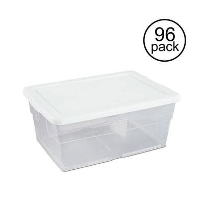 16 Qt. Clear Stacking Closet Storage Box Container Tub (96 Pack)