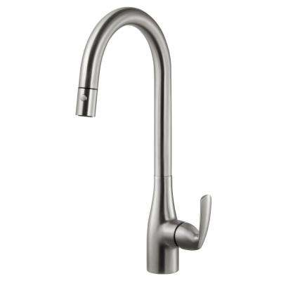 Cora Single-Handle Pull Down Sprayer Kitchen Faucet with CeraDox Technology in Brushed Nickel