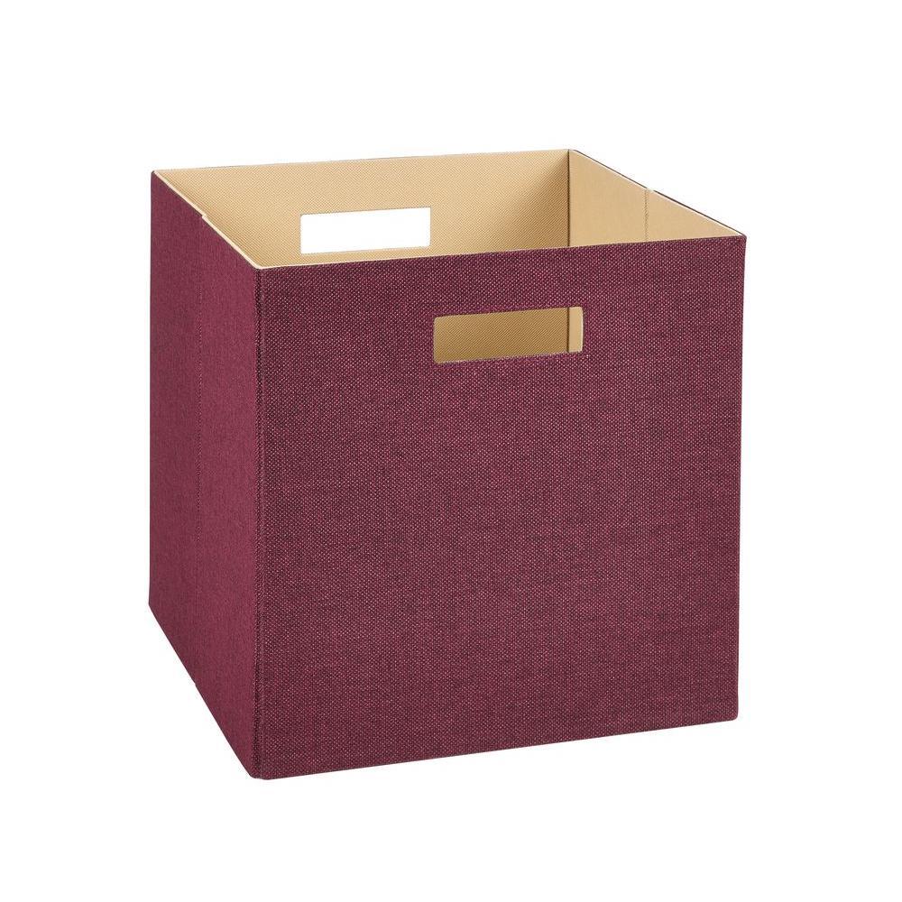 13 in. H x 13 in. W x 13 in. D Decorative Fabric Storage Bin in Red