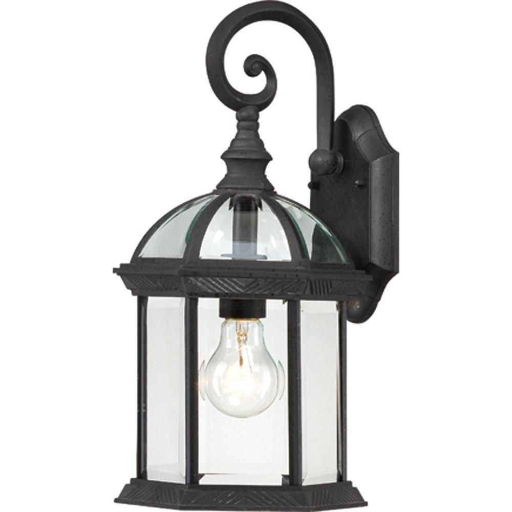 1-Light Textured Black Outdoor Wall Mount Lantern