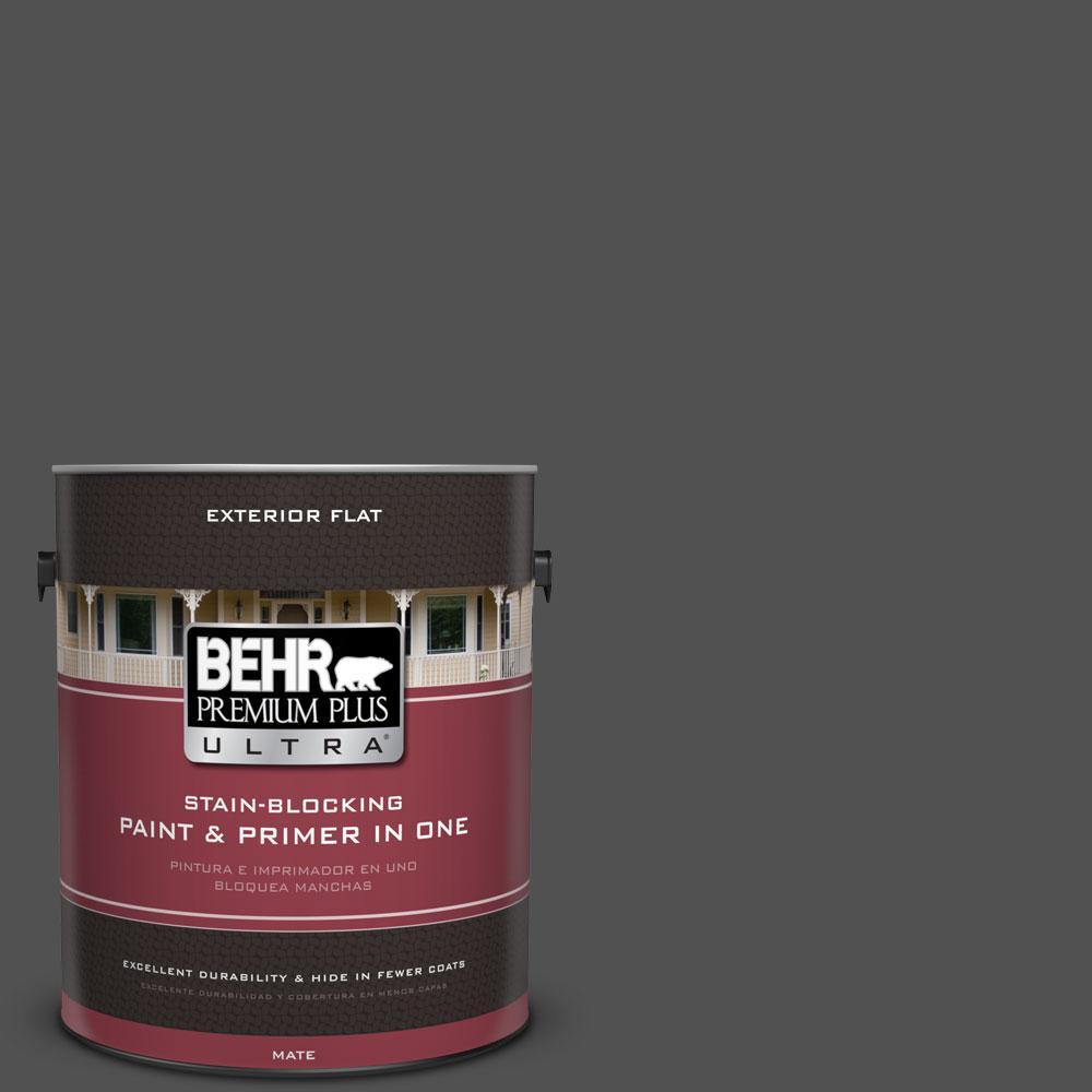 BEHR Premium Plus Ultra 1-gal. #N460-7 Space Black Flat Exterior Paint