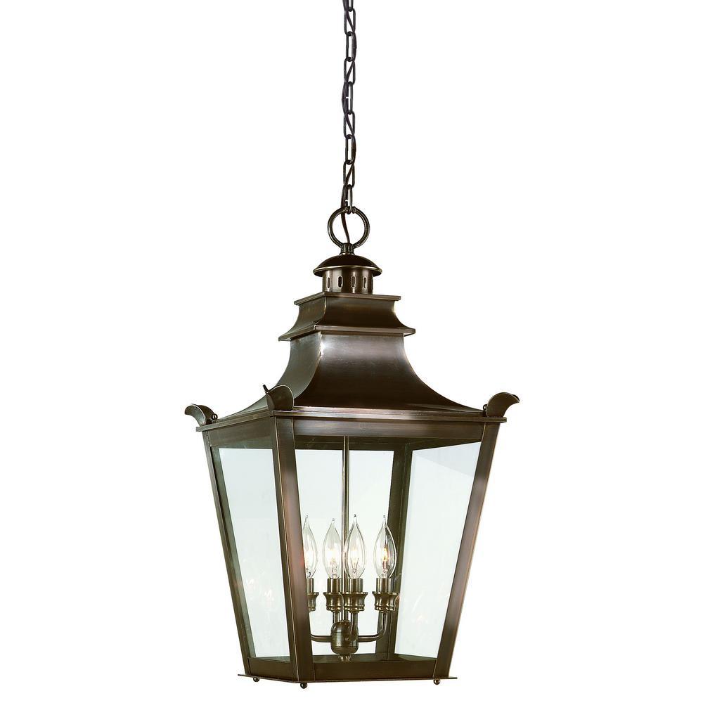 Dorchester 4-Light English Bronze Outdoor Pendant