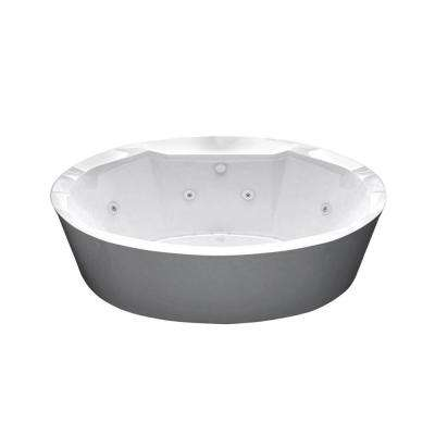Sunstone Diamond Series 5.7 ft. Acrylic Center Drain Flatbottom Whirlpool and Air Freestanding Bathtub in White