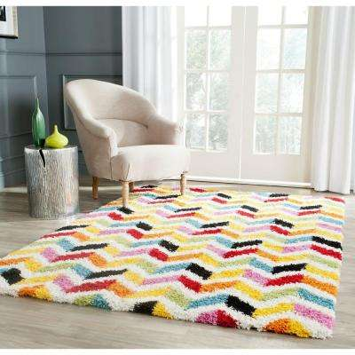Kids Shag Ivory/Multi 5 ft. x 8 ft. Area Rug