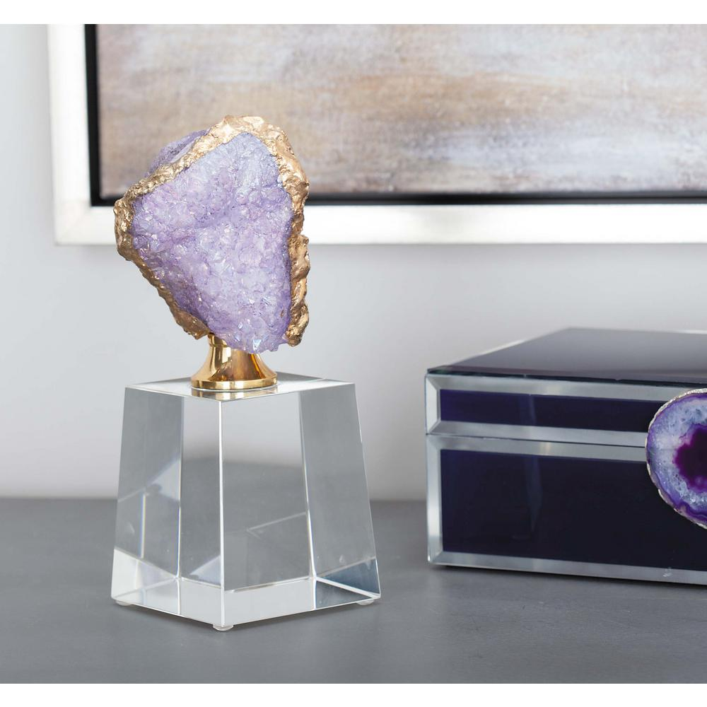 8 in. x 3 in. Decorative Abstract Geode Sculpture in Lavender