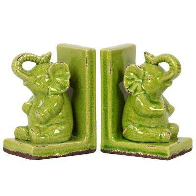 8.5 in. H Elephant Decorative Figurine in Green Gloss Distressed Finish (Set of 2)
