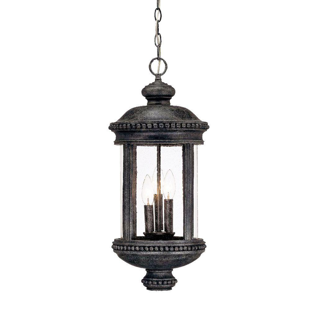 Acclaim Lighting Walton Collection Hanging Lantern 3-Light Outdoor Stone Light Fixture