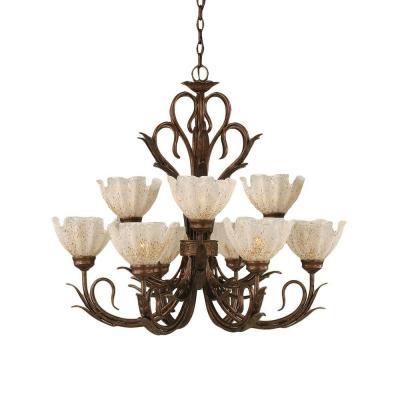 Concord Series 9-Light Bronze Chandelier with Gold Ice Glass Shade