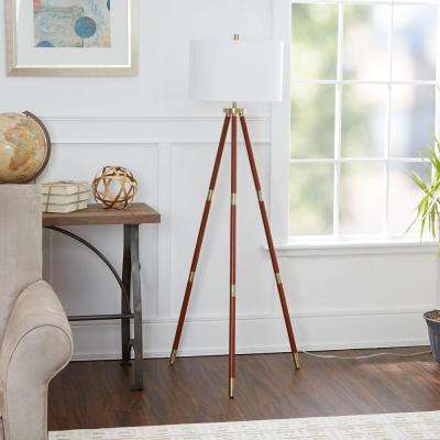 Beaufort 59.5 in. Brown Floor Lamp with Linen Shade