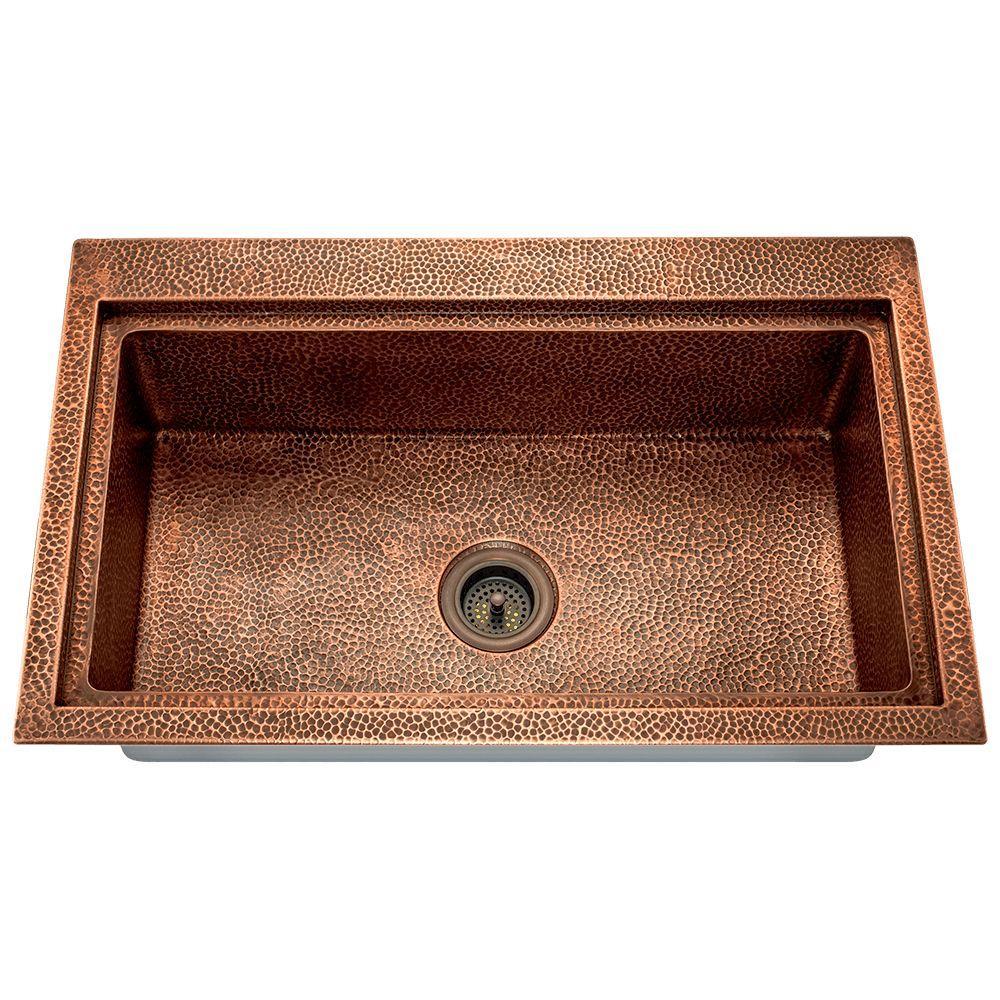 MR Direct Undermount Copper 33 in. Single Bowl Kitchen Sink-903 ...