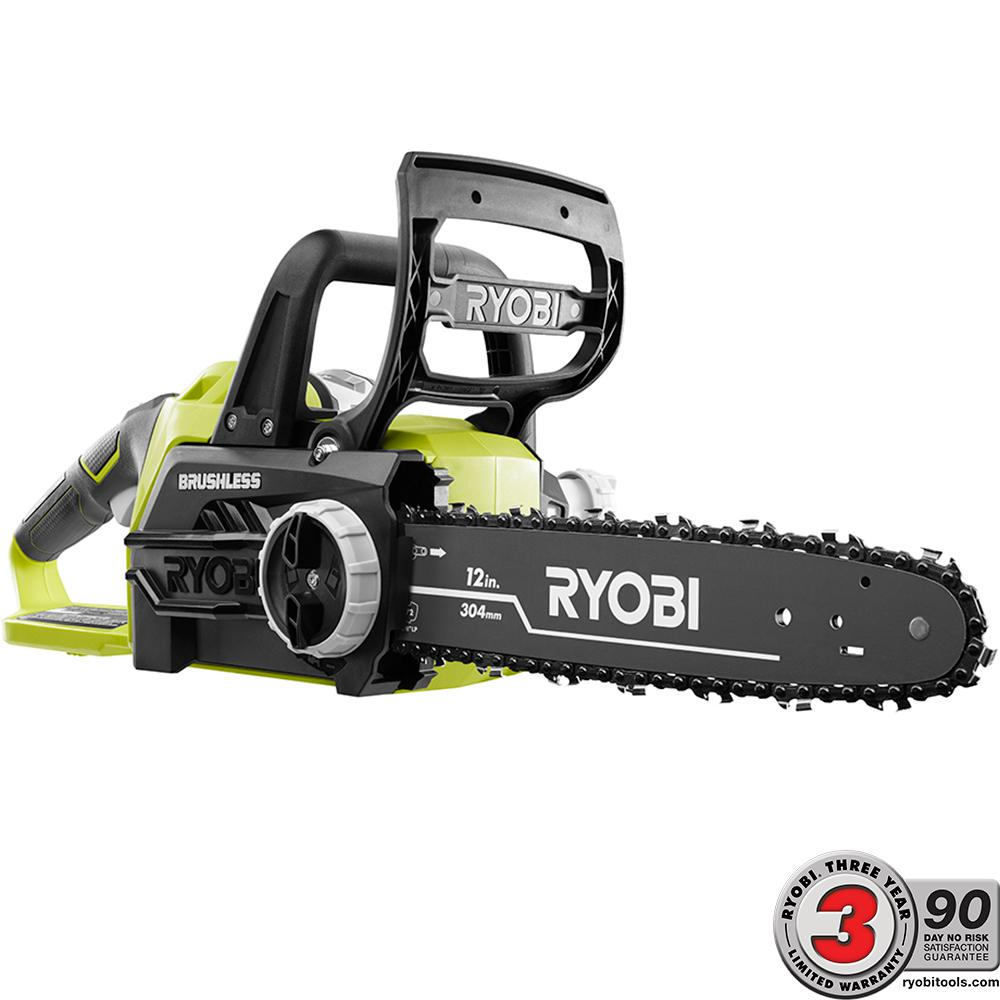 Ryobi one 12 in 18 volt brushless lithium ion electric cordless ryobi one 12 in 18 volt brushless lithium ion electric cordless chainsaw 40 ah battery and charger included p549 the home depot greentooth Choice Image