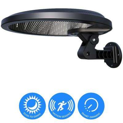 Self-Contained 160° Black Motion Activated Outdoor Integrated LED Solar Security Flood Light with Dusk-to-Dawn