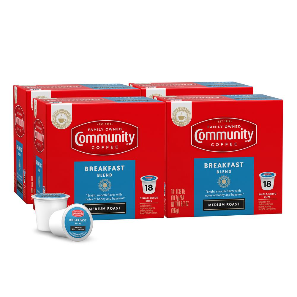 Community Coffee Breakfast Blend Medium Roast Single Serve Cups 72 Pack 16266 The Home Depot