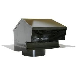 Galvanized Flush Roof Cap In Black With Removable Screen, Backdraft Damper  And