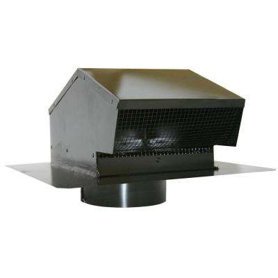 6 in. Galvanized Flush Roof Cap in Black with Removable Screen, Backdraft Damper and 6 in. Collar
