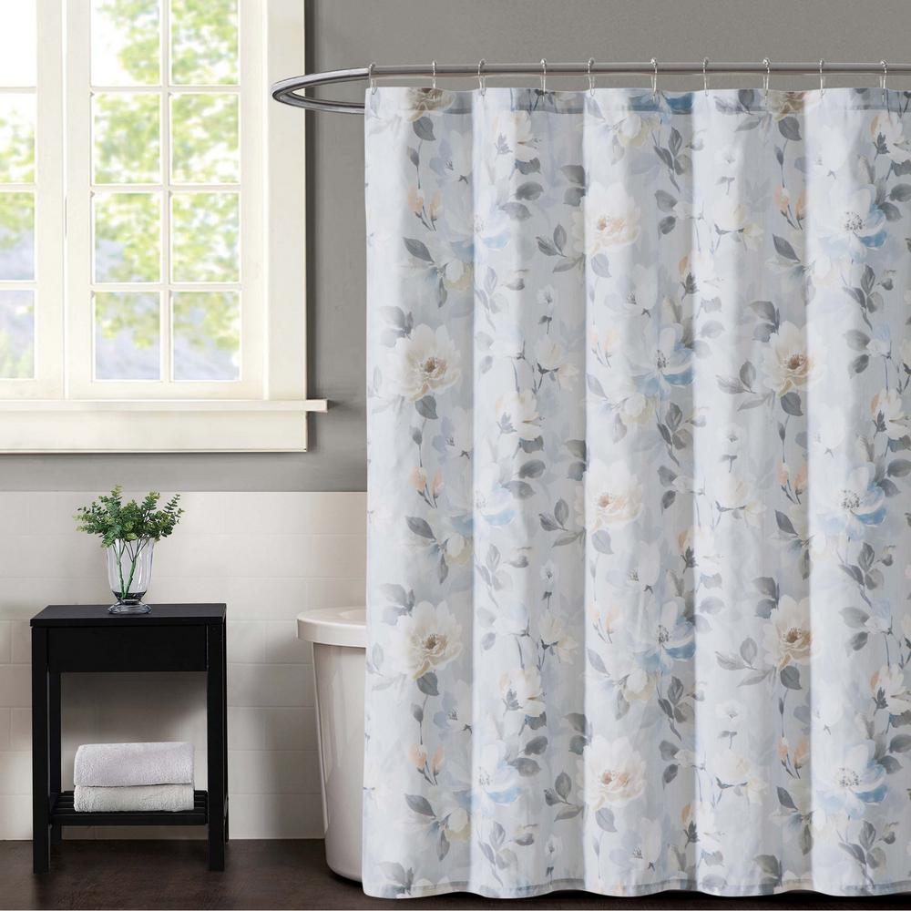 Soft Gray Floral Shower Curtain
