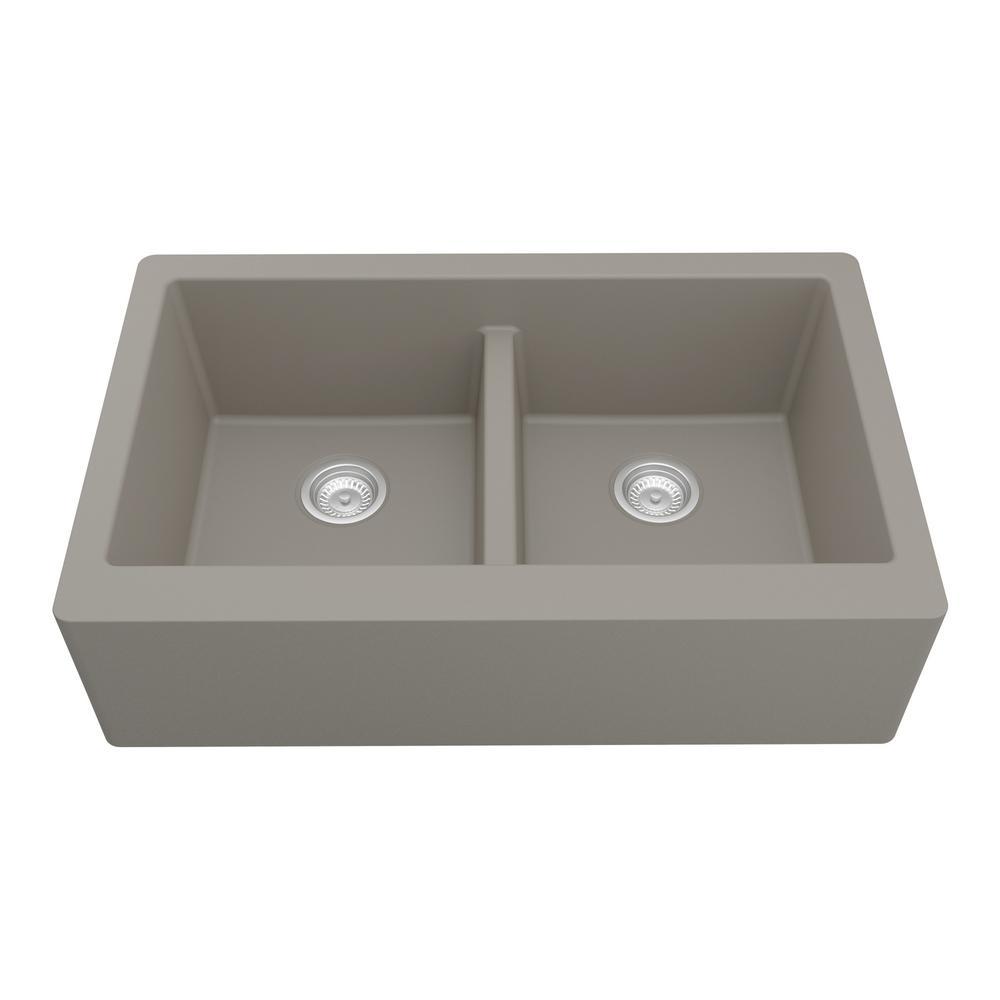 Karran Farmhouse Apron Front Quartz Composite 34 in. Double Bowl Kitchen Sink in Concrete