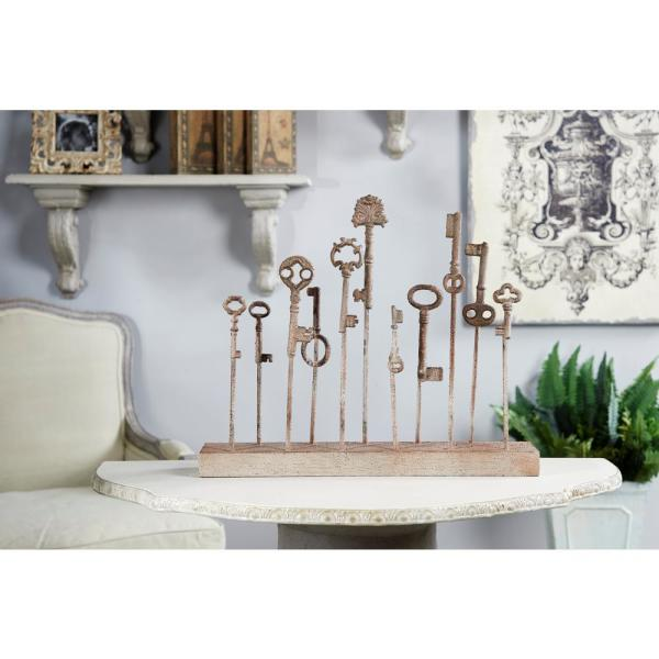 Litton Lane Distressed Beige Antique Keys Metal Sculpture on Iron Stand
