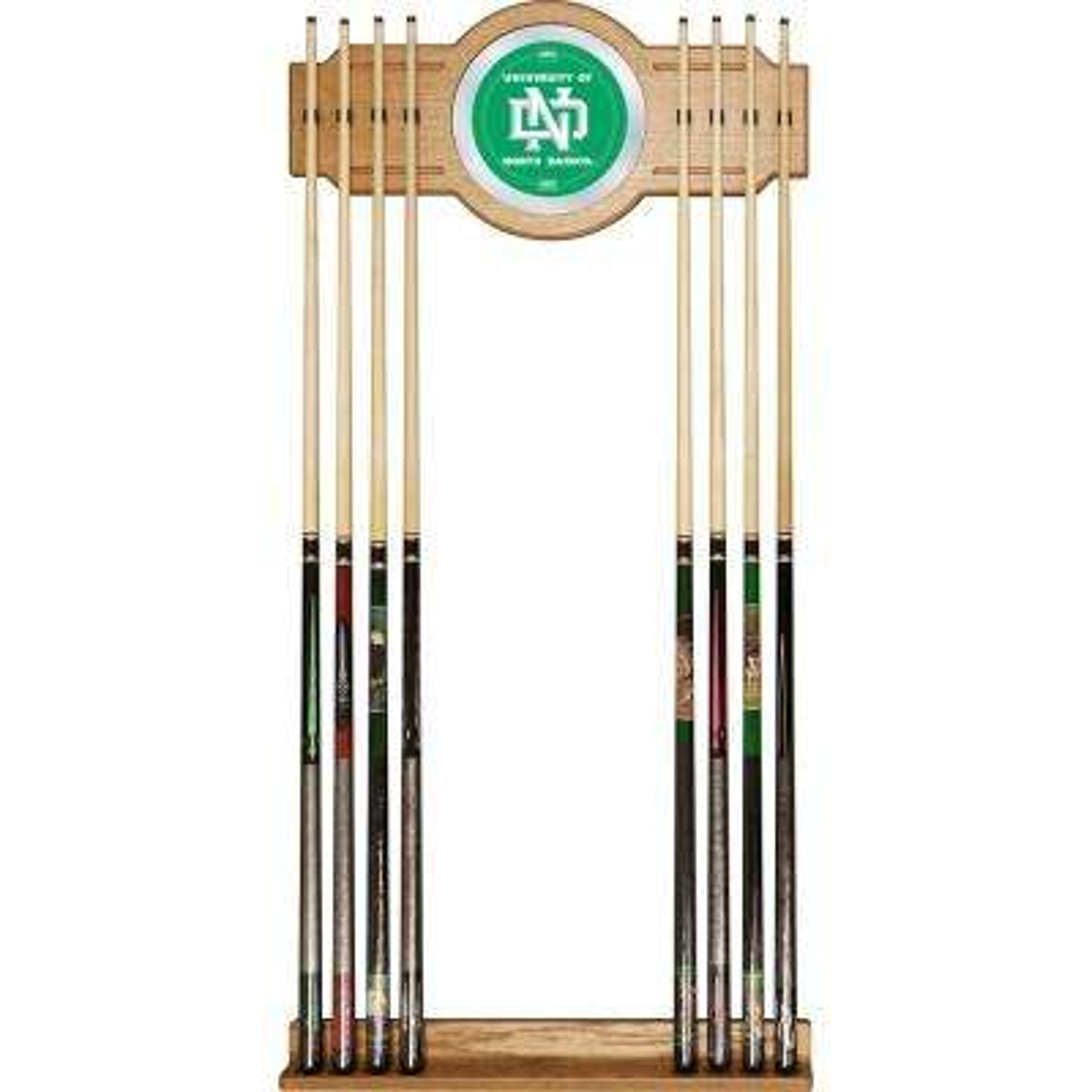 University of North Dakota 30 in. Wooden Billiard Cue Rack with Mirror