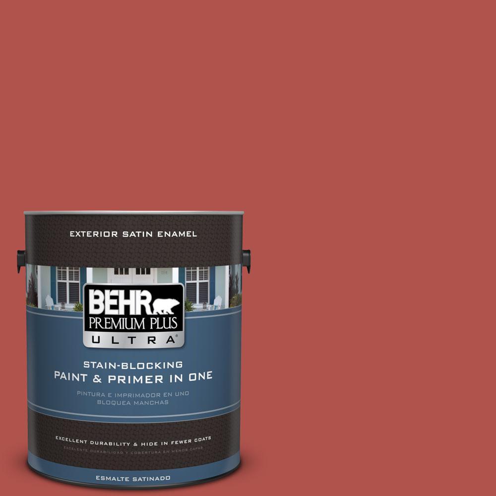 BEHR Premium Plus Ultra 1-gal. #BIC-48 Fortune Red Satin Enamel Exterior Paint