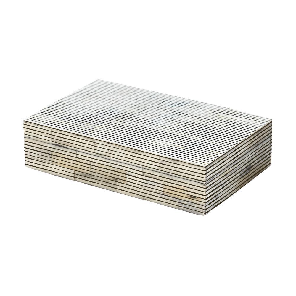 5 in. x 2 in. Pin Stripe Bone Decorative Box