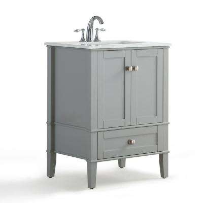 Chesapeake 24 in. Bath Vanity in Smoke Grey with Engineered Quartz Marble Vanity Top in White with White Basin