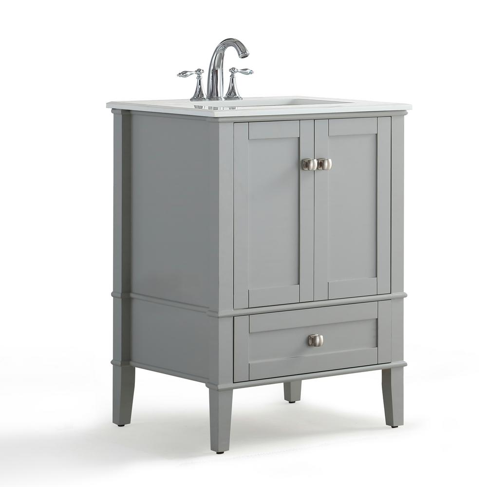 simpli home chelsea 24 in w x 21 5 in d x 34 7 in h bath vanity in grey with quartz marble. Black Bedroom Furniture Sets. Home Design Ideas