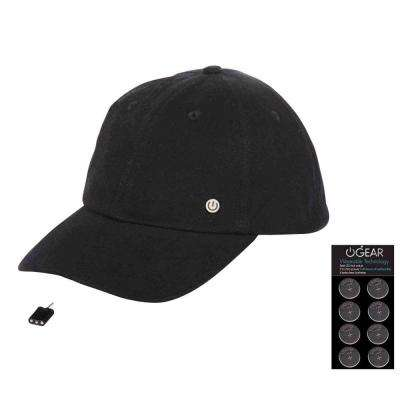Coin Battery Hat with Attachable LED Light, Black