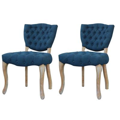 Rubber-Wood Navy Tufted Upholstered Armless Dining Chair - (Set of 2)