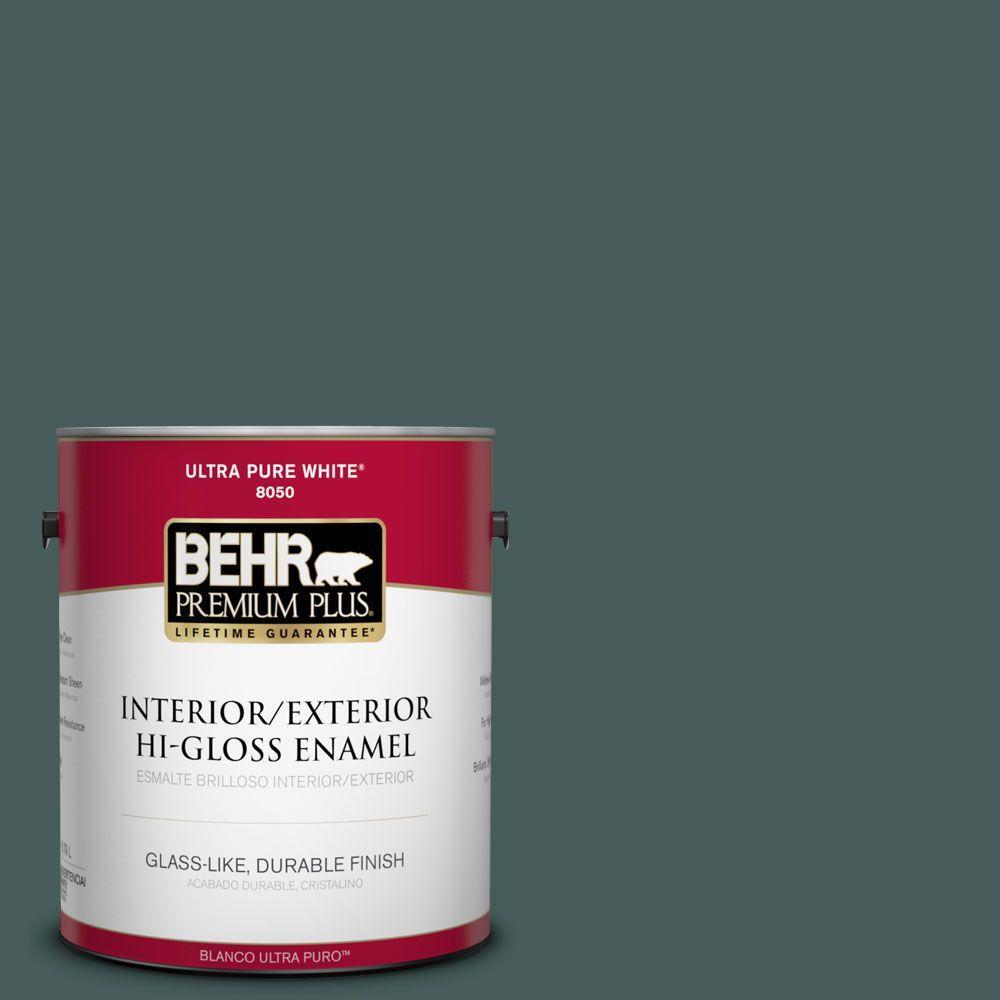 BEHR Premium Plus 1-gal. #490F-7 Jungle Green Hi-Gloss Enamel Interior/Exterior Paint