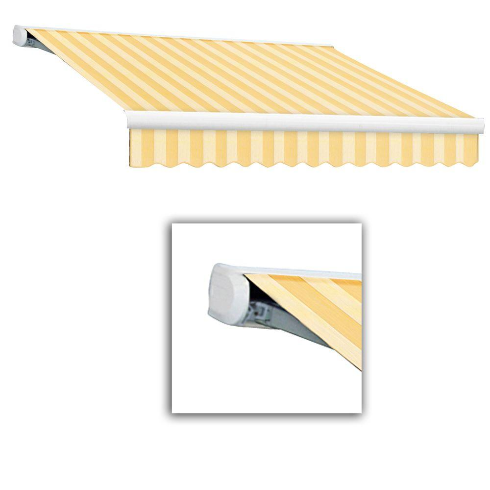 AWNTECH 18 ft. Key West Full-Cassette Right Motor Retractable Awning with Remote (120 in. Projection) in Almond Multi
