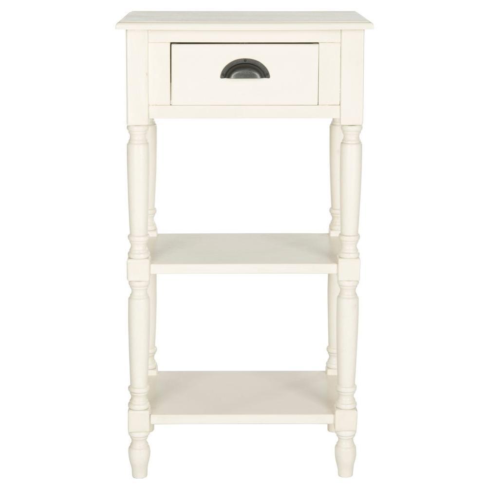 Safavieh chucky white storage end table amh5731b the for White end table with storage