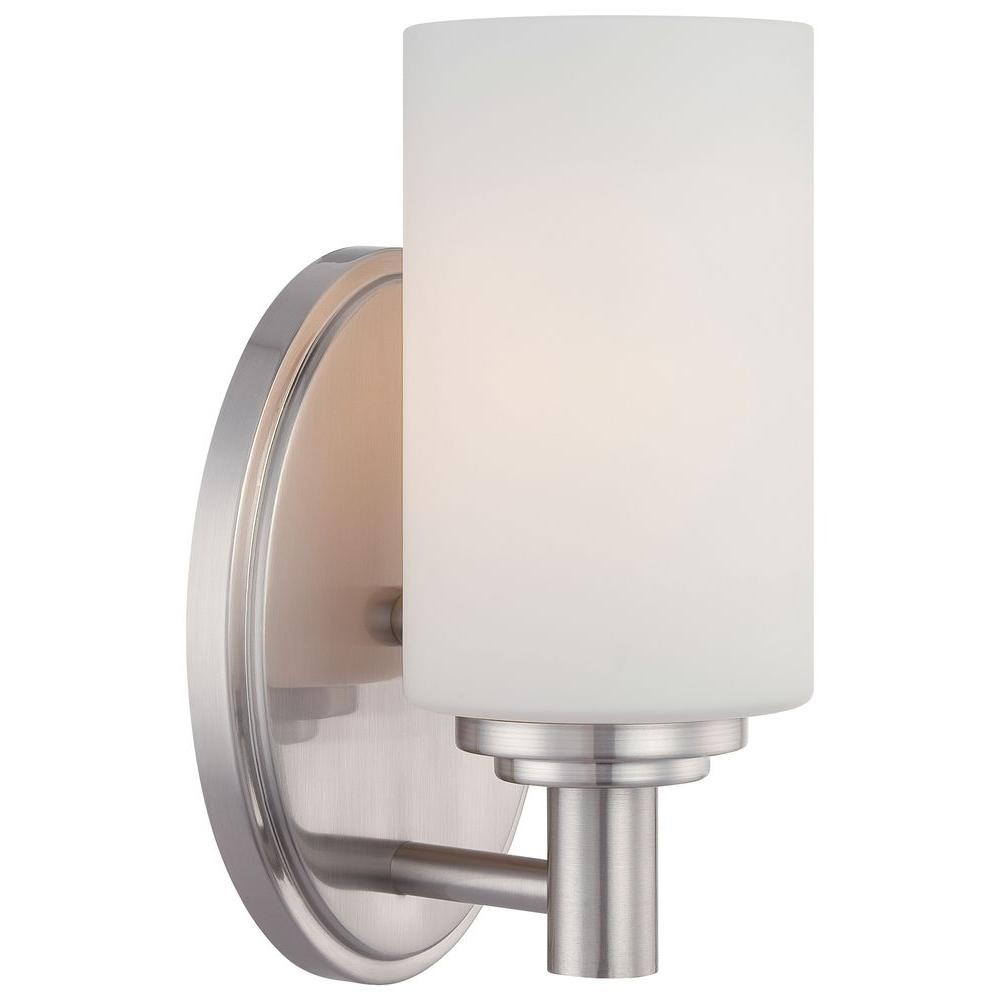 bathroom sconce lighting lighting pittman 1 light brushed nickel bath vanity 11237