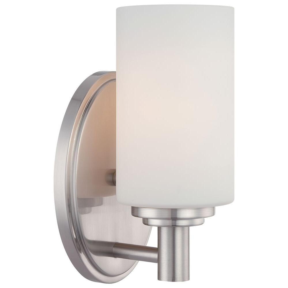 Pittman 1-Light Brushed Nickel Bath Vanity Light