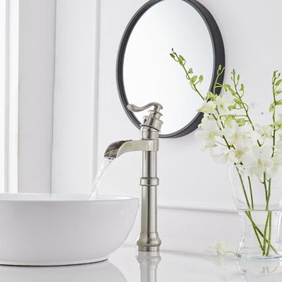 Waterfall Spout Single Handle Lever Hole Commercial Bathroom Vessel Sink Faucet Deck Mount Brushed Nickel