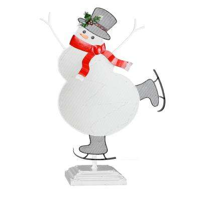 11 in. Tall Christmas Snowman Table Decor with LED Light