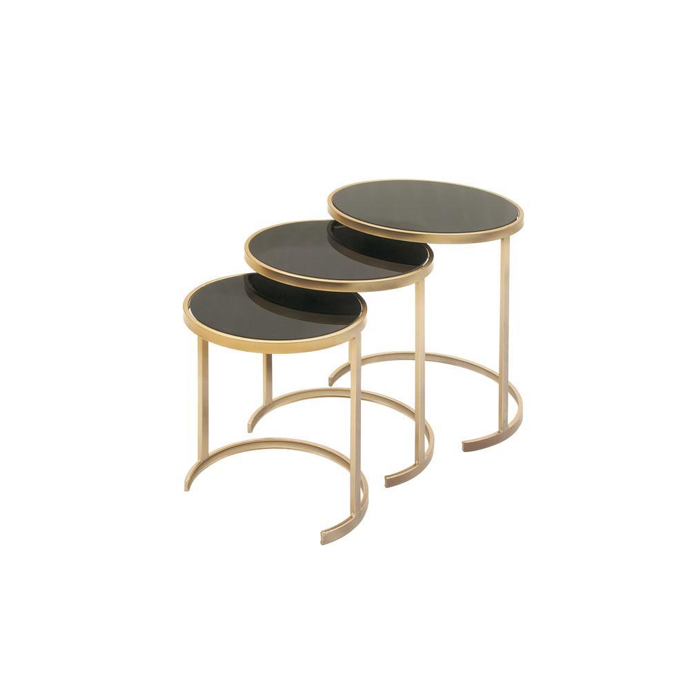 Litton Lane Black Gl Round Nesting Tables With Gold Iron Legs Set Of 3