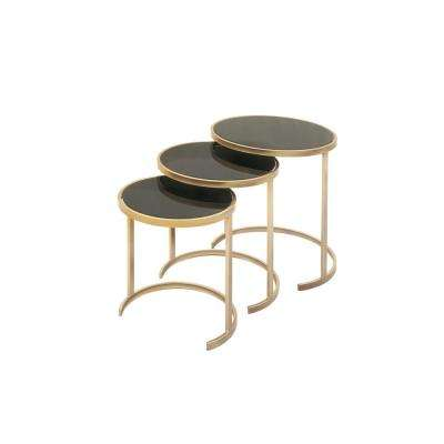 Black Glass Round Nesting Tables with Gold Iron Legs (Set of 3)