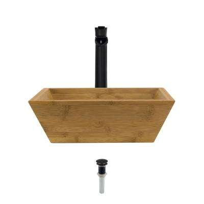 Vessel Sink in Bamboo with 731 Faucet and Pop-Up Drain in Antique Bronze