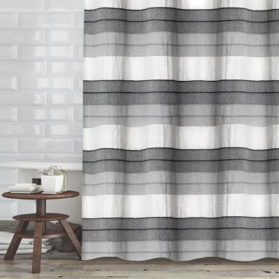 72 in. Ivory Charcoal Hellen Shower Curtain