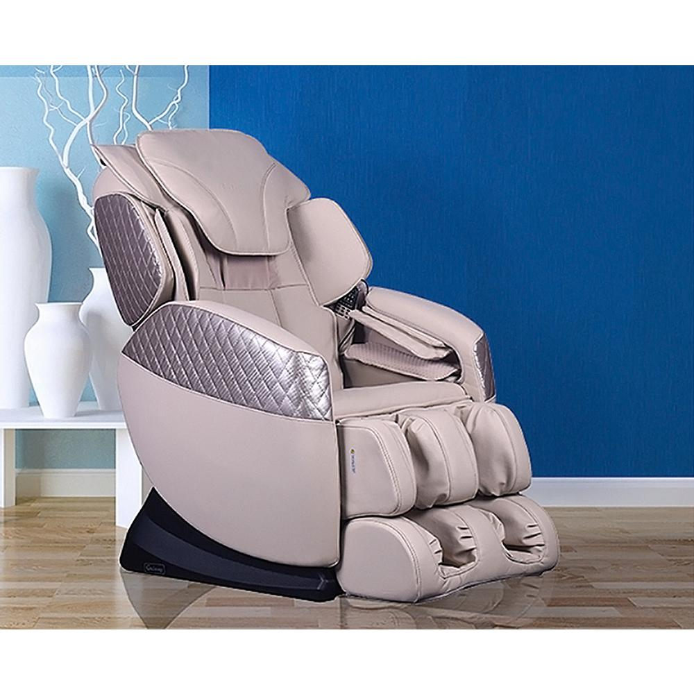 Titan Galaxy Series Beige Faux Leather Reclining Massage Chair with 6 Programmable Options and Built-in Foot Massager
