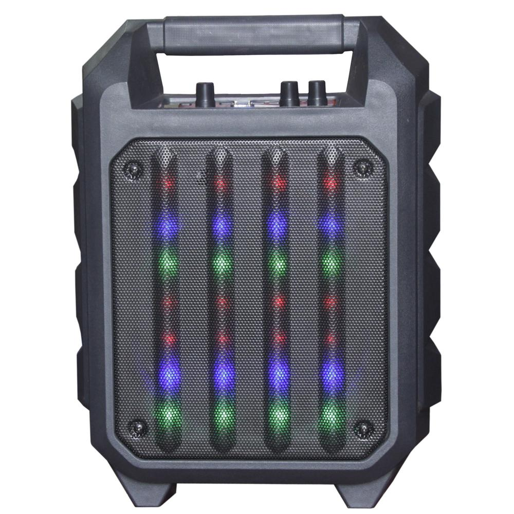 QFX Portable Rugged Bluetooth Speaker with 6.5 in. Woofer, Disco Lights, FM Radio, USB Port, Aux In, Mic In and Handle