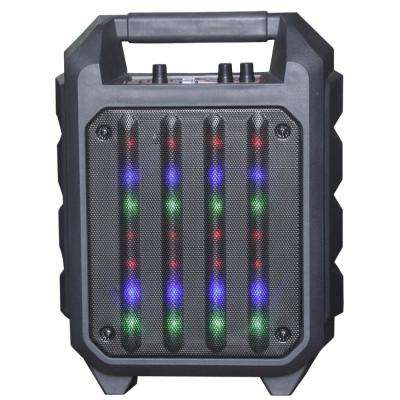 Portable Rugged Bluetooth Speaker with 6.5 in. Woofer, Disco Lights, FM Radio, USB Port, Aux In, Mic In and Handle