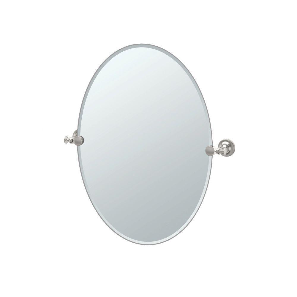 Gatco Tavern 24 in. x 27 in. Frameless Oval Mirror in Satin Nickel