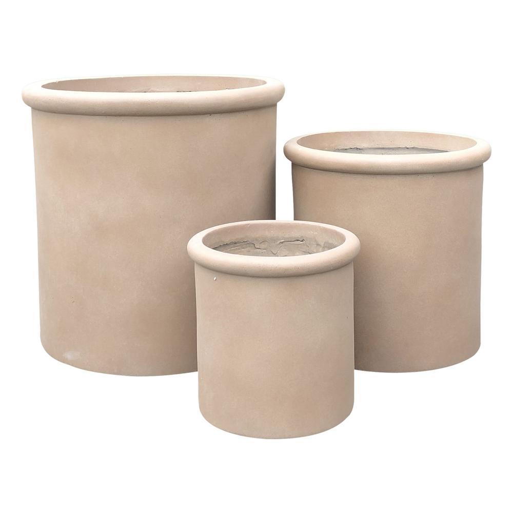 Terracotta Concrete Lightweight Cylindrical Planter (3-Set)
